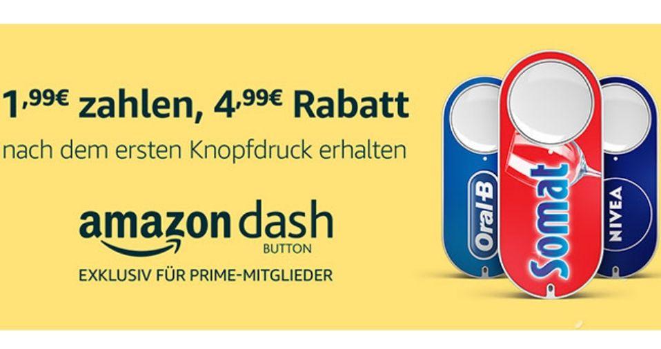 Für €1,99 Dash Button kaufen und einen Rabatt von €4,99 nach dem ersten Knopfdruck erhalten.