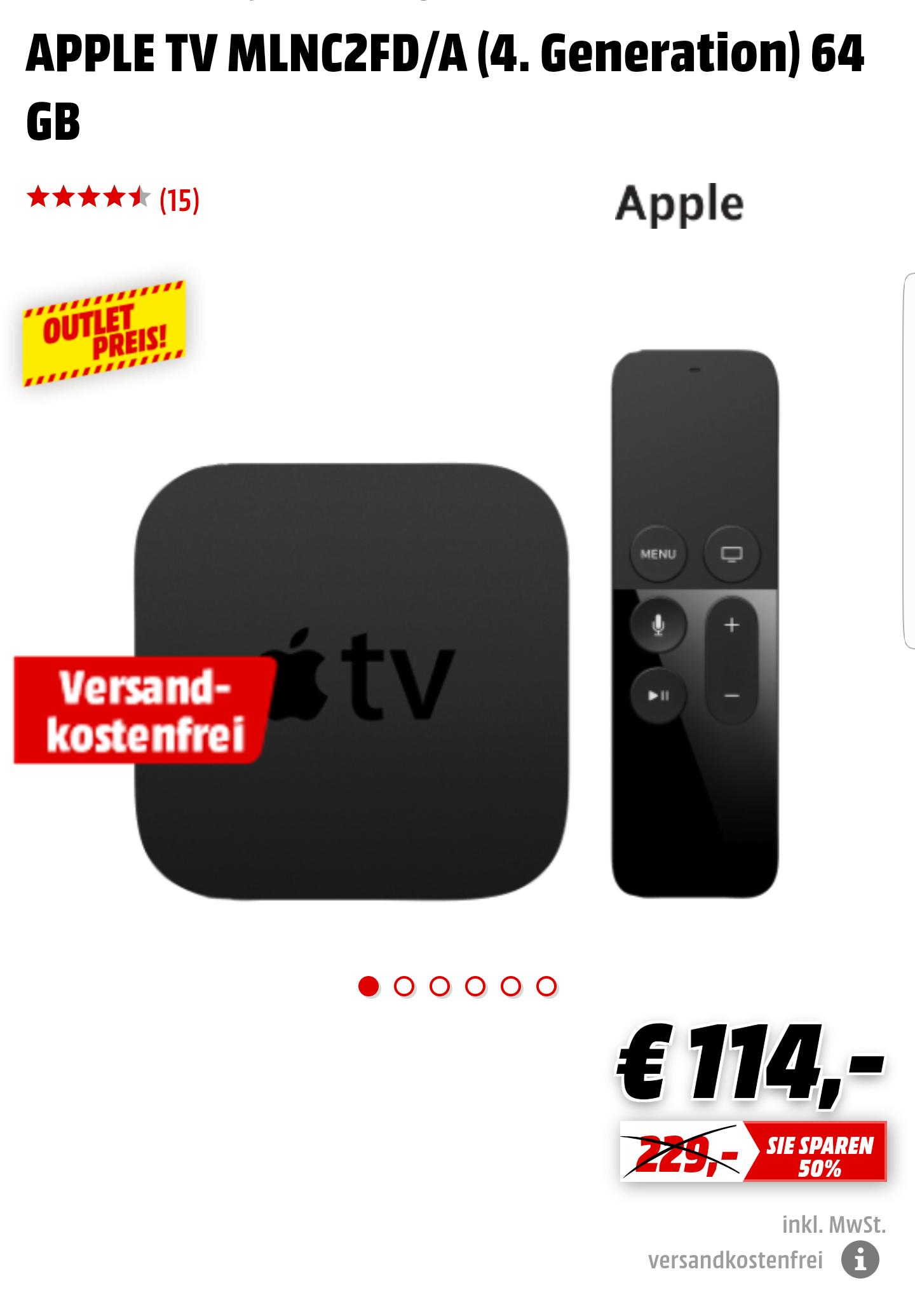 Apple TV (4. Generation) 64 GB schwarz mit Siri Remote Fernbedienung für 114,-€ [Mediamarkt.de]