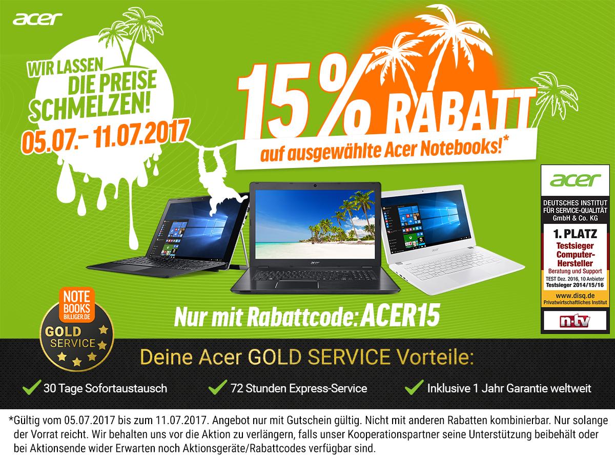 [Notebooksbilliger] 15% Rabatt auf ausgewählte Acer Notebooks