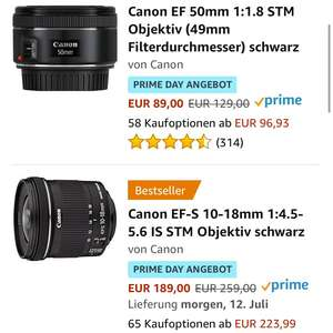 Amazon Prime Angebot / Canon EF 50mm um 89€