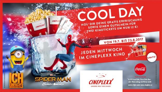 Cineplexx - jeden Mittwoch beim Kauf eines Tickets, Gutschein für 2 Tickets um 12€ + gratis Minigetränk