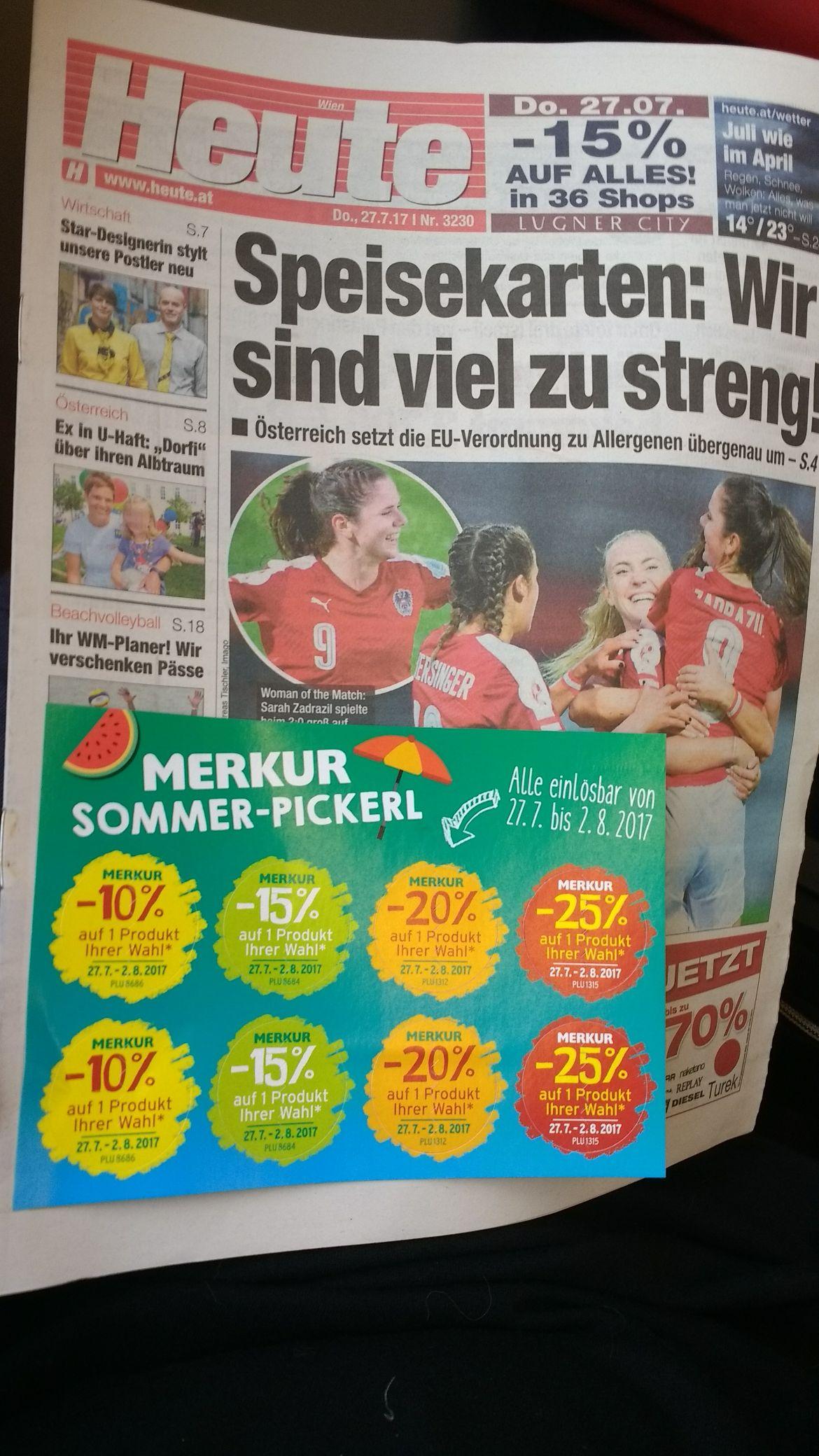 Heute Zeitung: bis zu -25% Rabatt Aufkleber Merkur