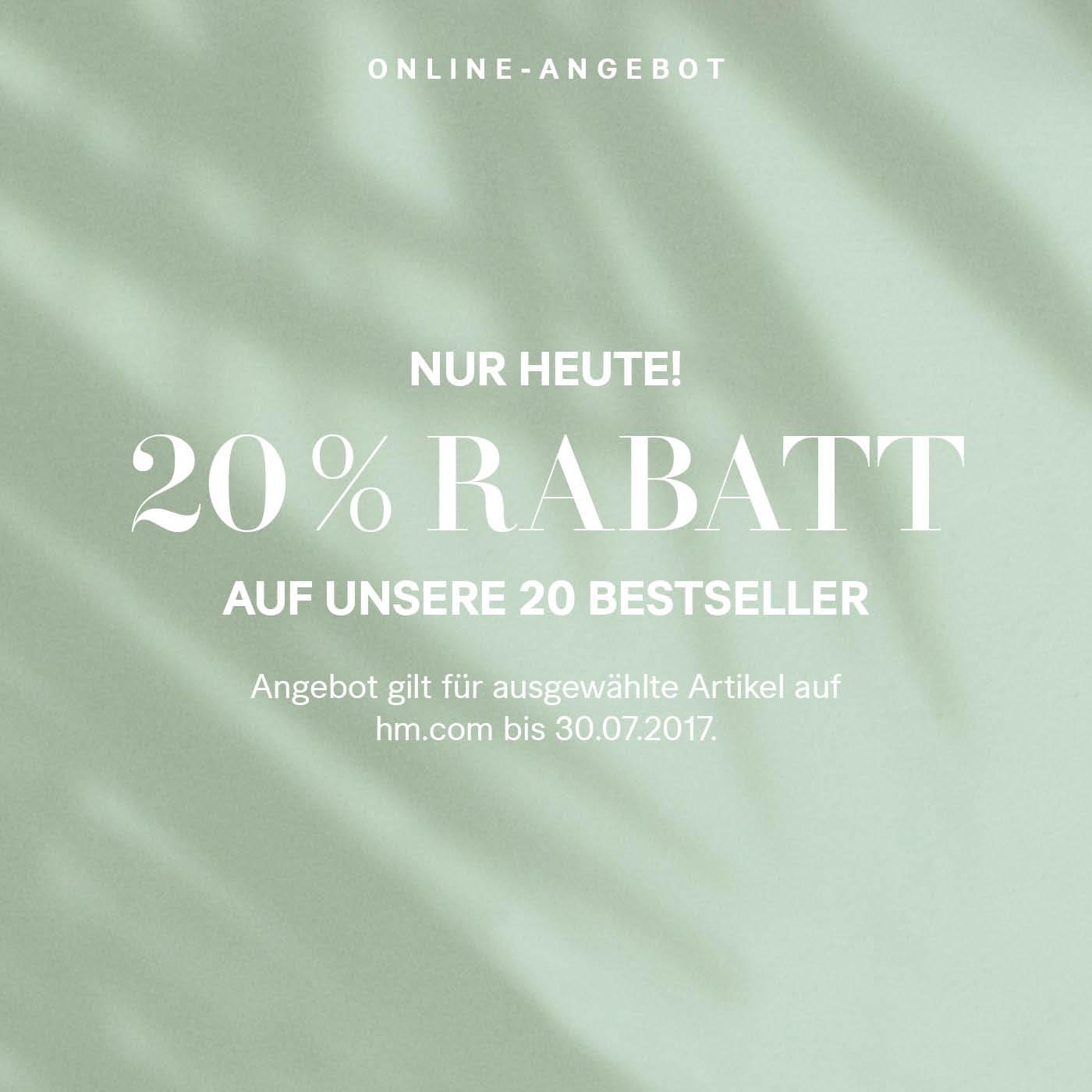 H&M: 20% Rabatt auf Bestseller + kostenloser Versand - nur heute gültig