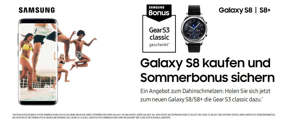 Saturn: Samsung Galaxy S8+ Smartphone + Samsung Gear S3 Classic Smartwatch für 719,20€