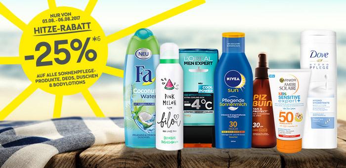 BIPA Hitze-Rabatt - 25% auf alle Sonnenpflege-Produkte, Deos, Duschen & Bodylotions
