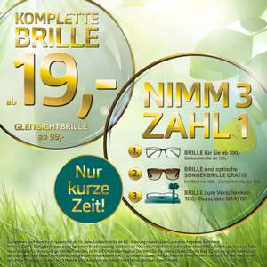 [Pearle] 33% Rabatt auf Brillen / optische Sonnenbrillen und Nimm 3 Zahl 1 Aktion kombinierbar