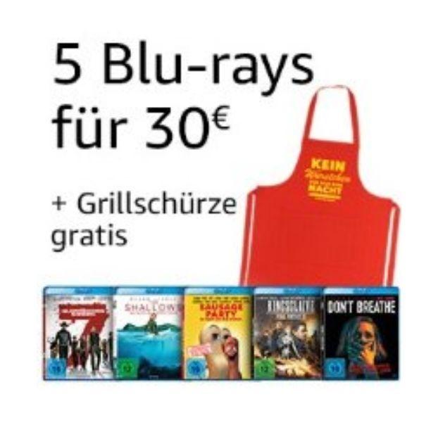 Amazon: 5 Blu-rays für 30 EUR + Grillschürze gratis