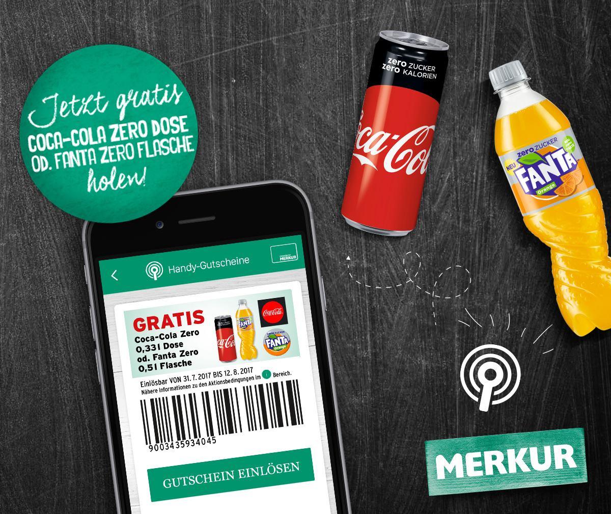 Merkur: Gratis Coca-Cola Zero Dose oder eine Fanta Zero Flasche in ausgewählten Märkten - nur bis morgen!