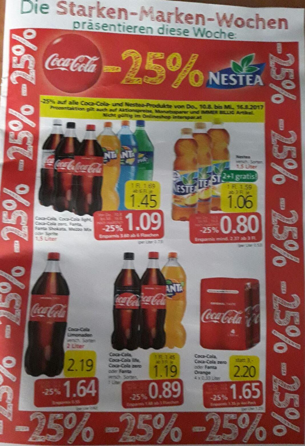 Die Starken-Marken-Wochen bei SPAR | 25% auf Coca Cola und NESTEA inklusive Aktionsartikel