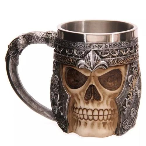 Lovdock - Edelstahl Liner Creepy 3D Schädel Kaffee Bier Milch-Becher Cup für 9,45 Euro