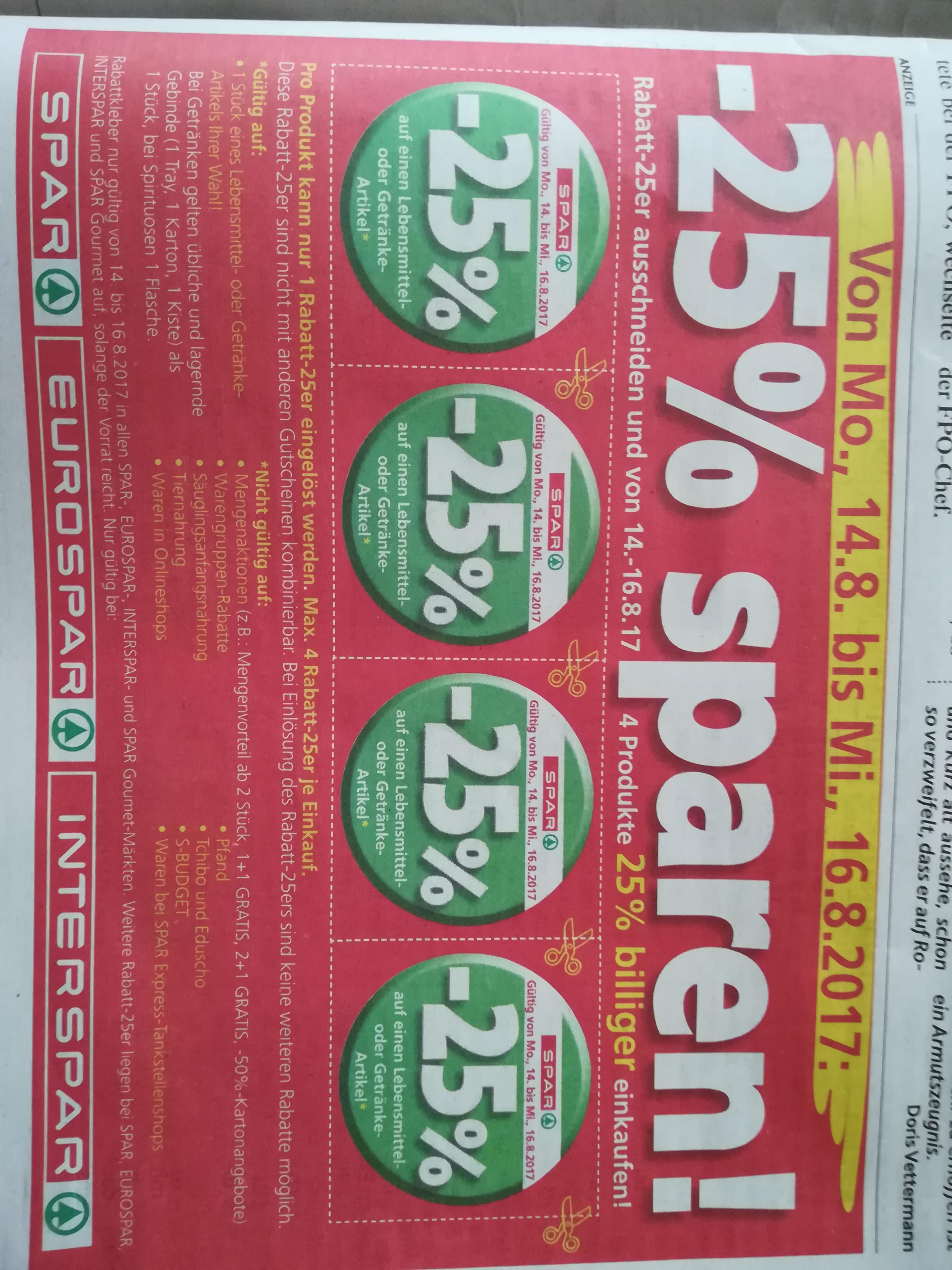 -25% bei Spar, Euro- oder Interspar