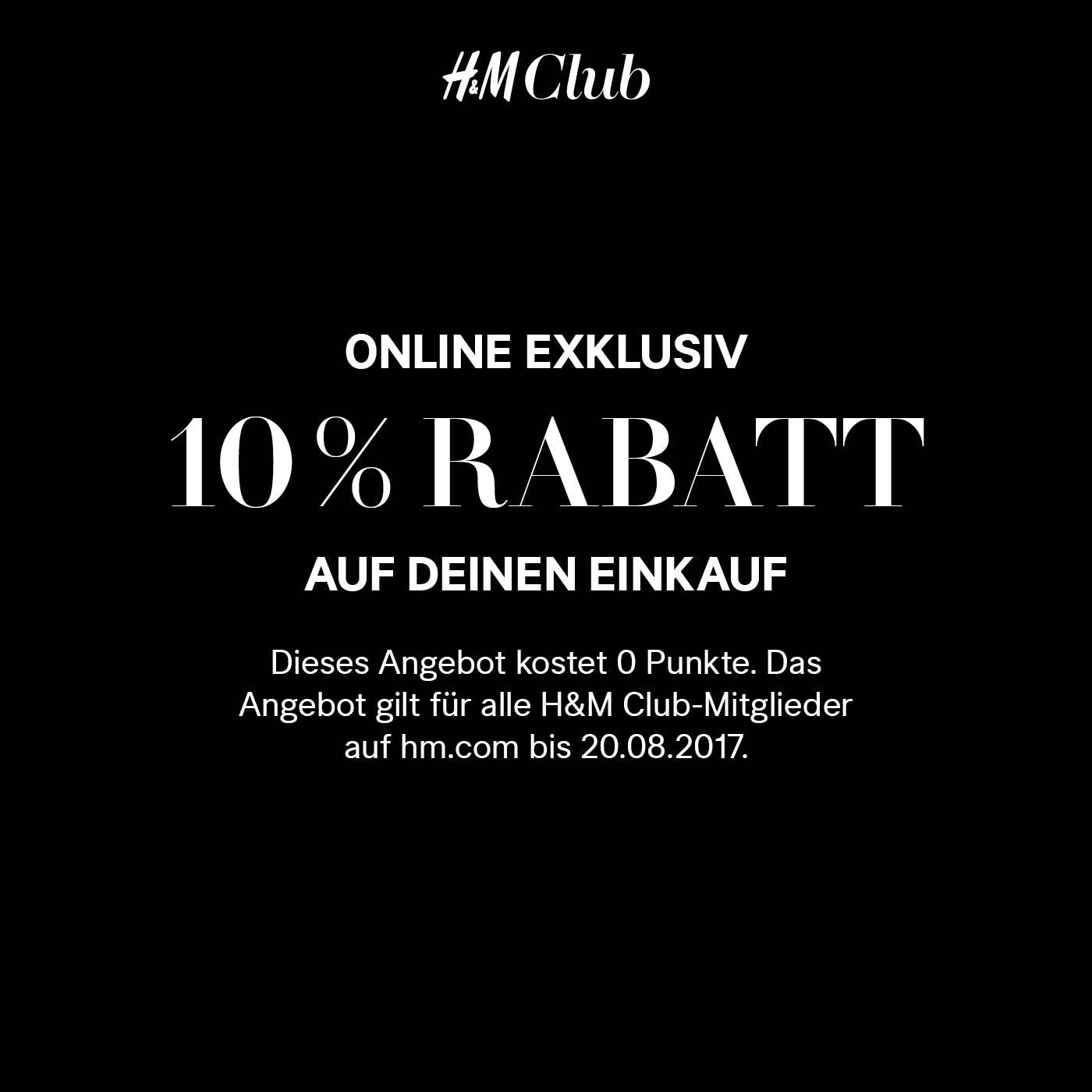 H&M Club: 10% Rabatt auf den kompletten Einkauf + keine Versandksoten - nur bis zum 20. August