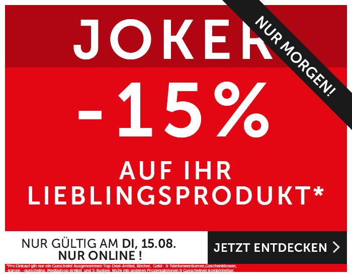 Interspar: 15% Rabatt auf ein Produkt - nur am 15. August