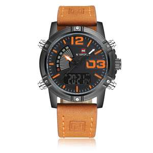Gamiss - NAVIFORCE 9095 Luminous Faux Leather Strap Analog Digital Watch für 11,02€