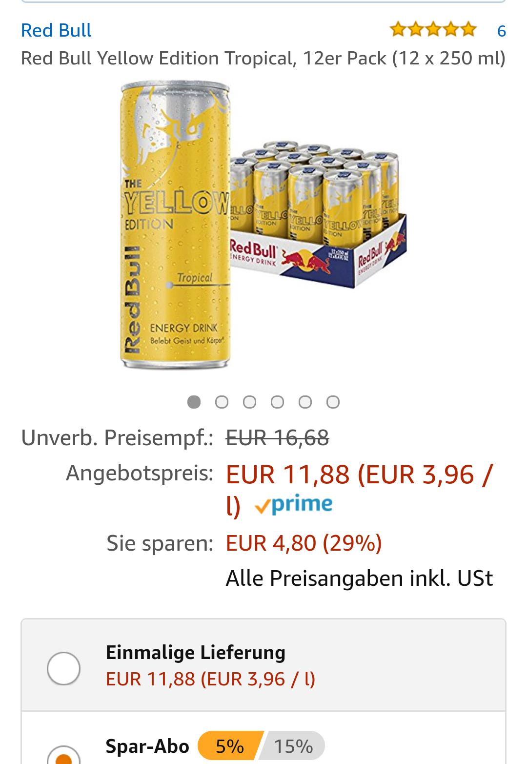 RedBull Tropical 11,29 €