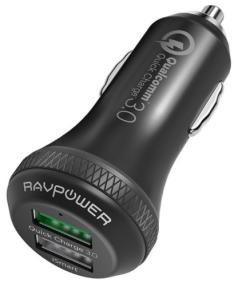 RAVPower Qualcomm Quick Charge 3.0 Autoladegerät mit 36 Watt, 2 Steckplätze (Lieferung mit Prime bis morgen möglich)