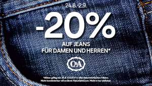 C&A: 20% Rabatt auf alle Jeans - nur vom 24. August bis zum 2. September