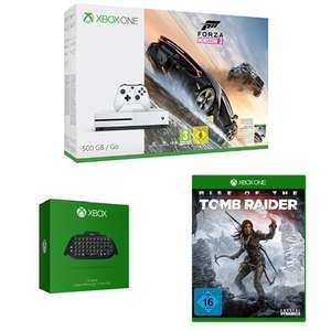 Xbox One S 500GB Konsole - Forza Horizon 3 Bundle + Xbox One Chatpad QWERTZ (deutsches Tastaurlayout) + Rise of the Tomb Raider Um 219€
