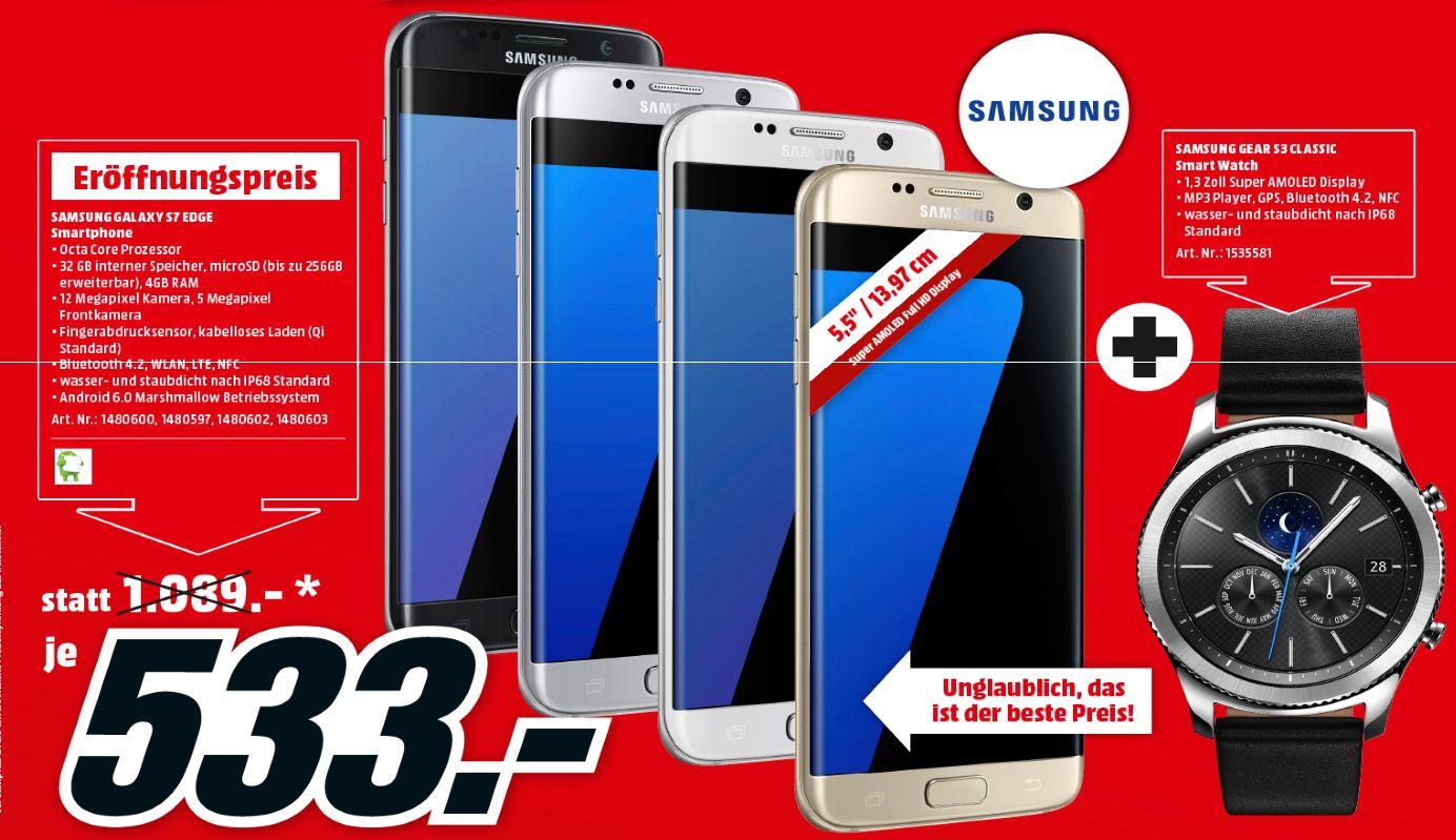 [Lokal Mediamarkt Innsbruck ab Donnerstag] Samsung Galaxy S7 Edge (Alle Farben) inc. Samsung Gear S3 Classic für 533,-€