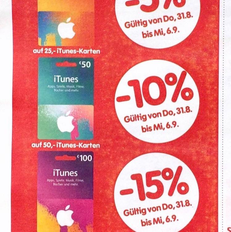Interspar - 15% Rabatt auf 100€ iTunes Karte (31.8-6.9)