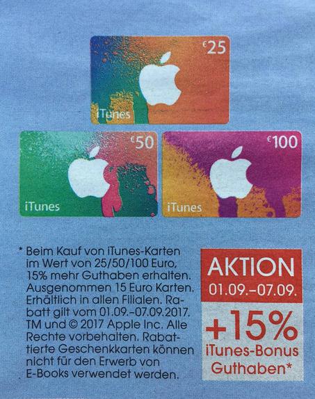 Libro: iTunes Karten + 15% Extra Guthaben - bis 7.9.2017