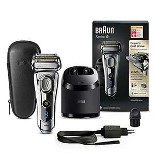Braun Series 9 Elektrorasierer 9296cc, mit Reinigungs- und Ladestation, Leder-Etui, chrom + Gratis Zugabe im Wert von 19,14€ [Amazon]