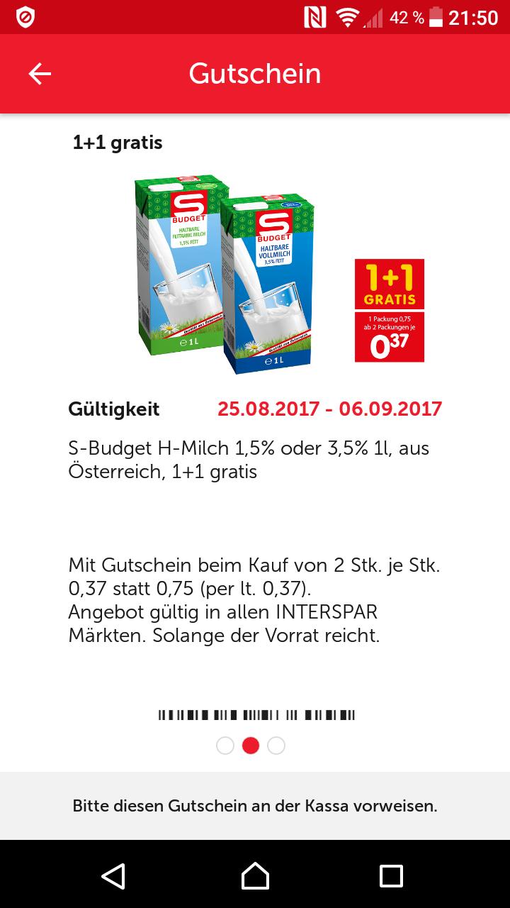 SBudget H Milch 1+1GRATIS