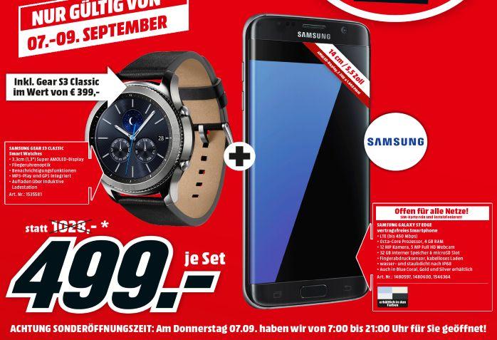 [Lokal Mediamarkt Pasching ab Donnerstag] Samsung Galaxy S7 Edge (Alle Farben) inc. Samsung Gear S3 Classic für 499,-€