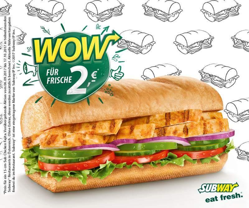 Subway: Chicken Fajita Sandwich (15cm) für 2€