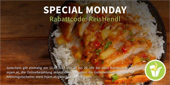 """[Mjam.at] """"Special Monday"""" - 16-20 Uhr wird wieder gespart! -3€"""