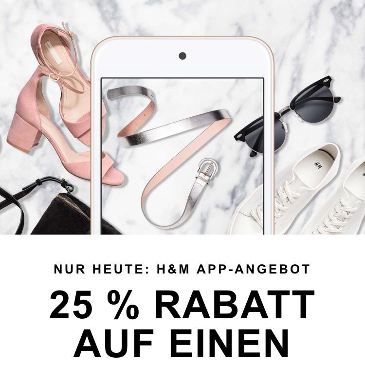 Nur heute! H&M-App: 25 % Rabatt auf einen Artikel(auch Sale Artikel) + Gratis Versand