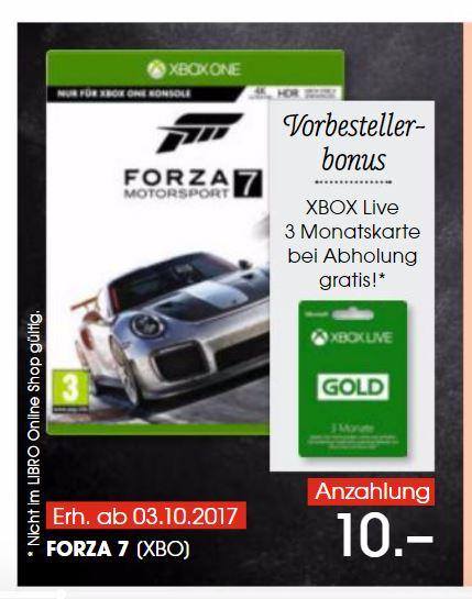 Forza Motorsport 7 vorbestellen und 3Monate Xbox Live Gold Gratis | Libro