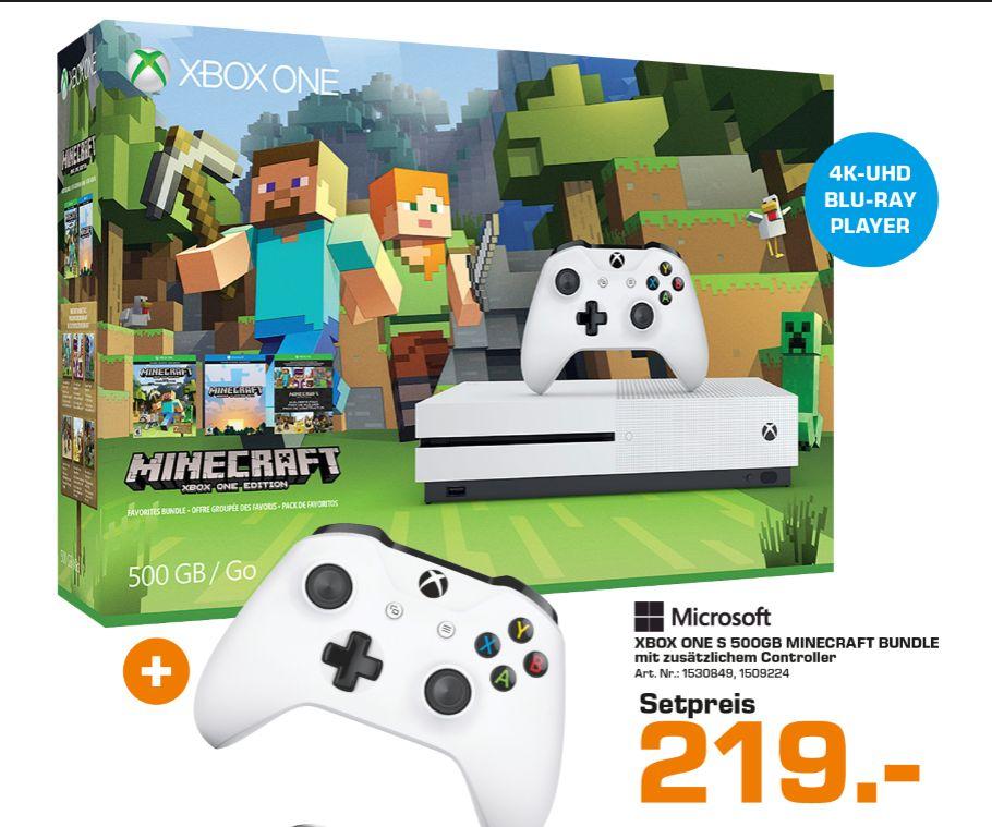 [Lokal Saturn Wien Gerngross] Microsoft Xbox ONE S 500GB - Minecraft Bundle (slim/weiß) + 2.Controller für 219,-€