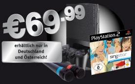 Playstation 2 mit Singstar Demo inkl. Mikrofone für 70€ bei Gamestop