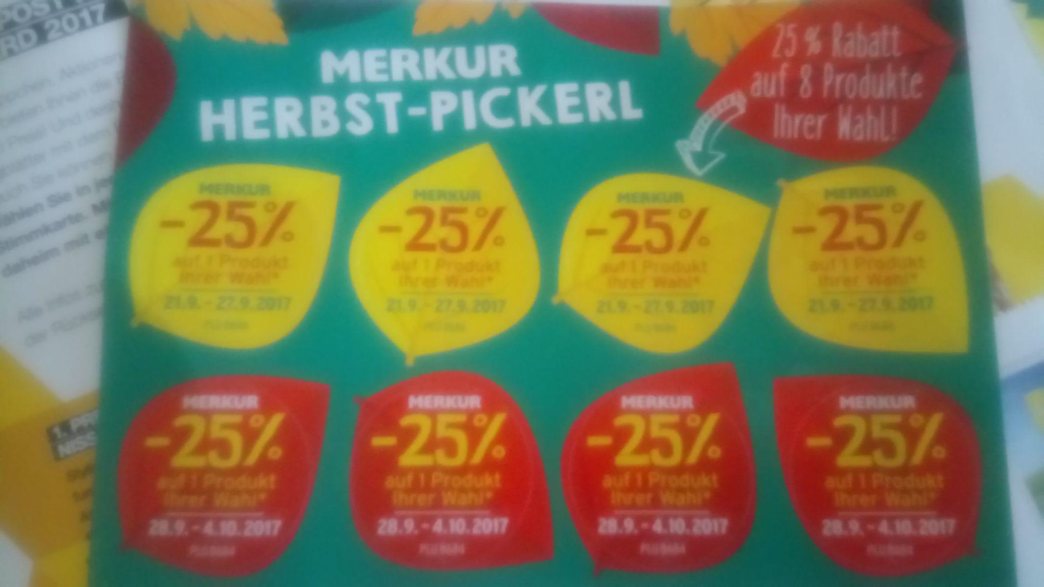MERKUR >> 25% Herbst-Pickerl im aktuellen Flugblatt