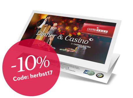 [Dinner & Casino] -10% auf Dinner & Casino Gutschein - nur am 21.9.2017