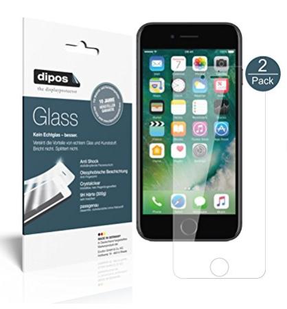 Amazon.de: 2x dipos Glas-Panzerfolie für iPhone 8, durch Gutscheincode gratis