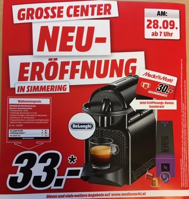 [Mediamarkt] Huma Eleven: DeLonghi EN 80.B Inissia schwarz um EUR 33,--  am 28.9.-30.9.2017 und weitere Eröffnungsangebote