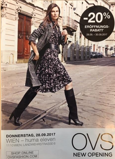 [OVS Fashion] Neueröffnung im Huma Eleven: 20% Eröffnungsrabatt vom 28.9.-30.9.2017