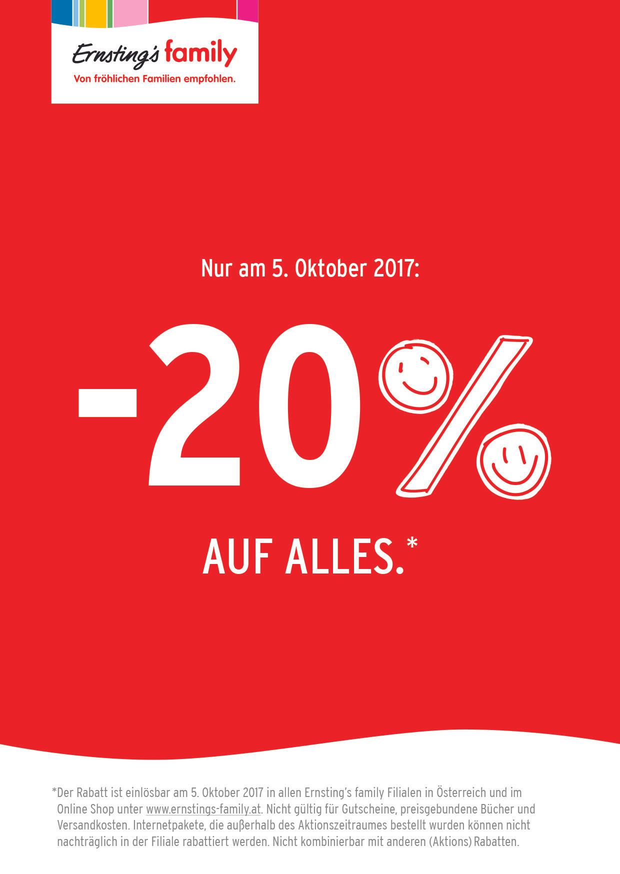 Ernsting's family: 20% Rabatt auf alles - nur am 5. Oktober