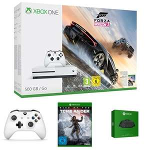Xbox One S (500GB) Forza Horizon 3 Bundle + Rise of Tomb Raider + 2. Controller und Chatpad für 249€ bei [Amazon] [318€ VGP]