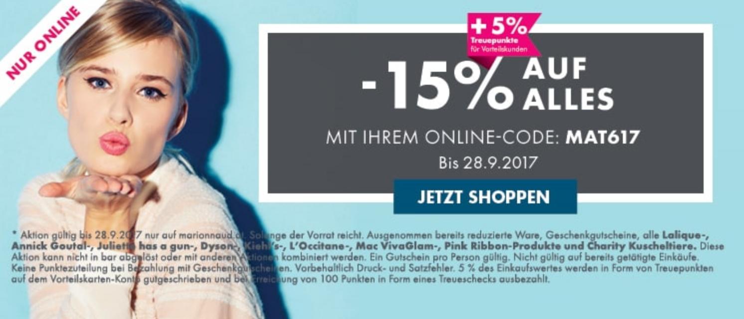 Marionnaud: 15% Sofort-Rabatt auf Alles - bis 28.9.2017