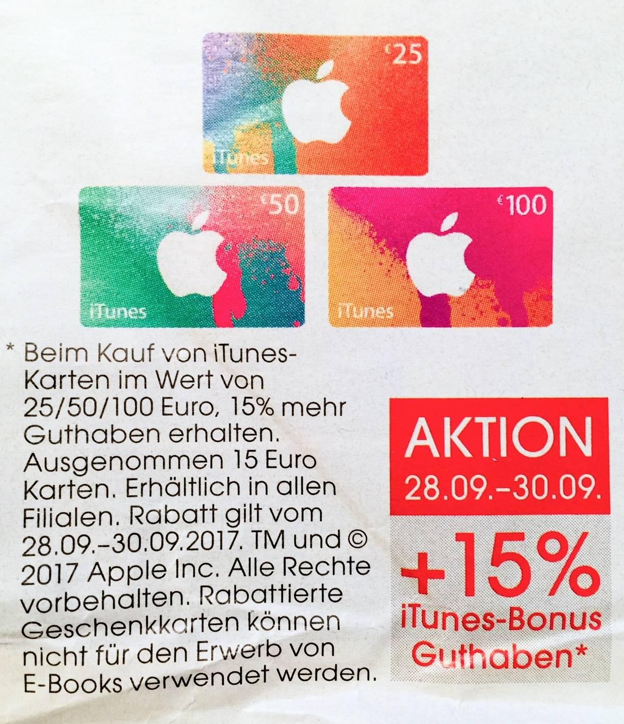 [Libro Filialen] 15% Bonusguthaben auf iTunes Karten 25 EUR, 50 EUR und 100 EUR vom 28.9.-30.9.2017