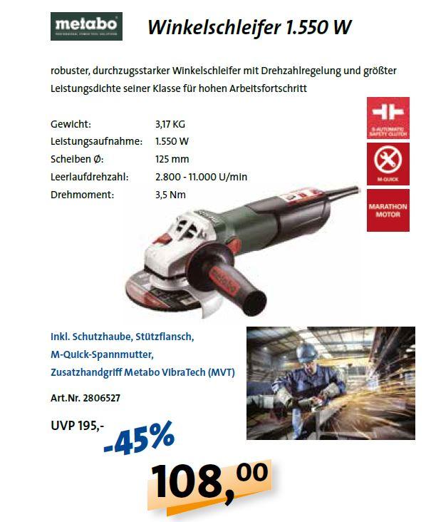 Metabo Winkelschleifer WEV 15-125 QUICK um 108€ netto (UVP 195€ netto)