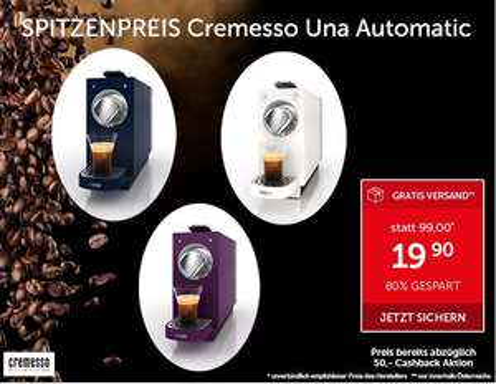Cremesso Uno Automatic im Interspar Onlineshop um ~€ 24 statt € 49,99
