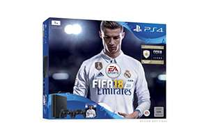 Amazon: PlayStation 4 - Konsole (1TB, schwarz, slim) inkl. FIFA 18 + 2 DualShock Controller + 14 Tage PlayStation Plus für 299€