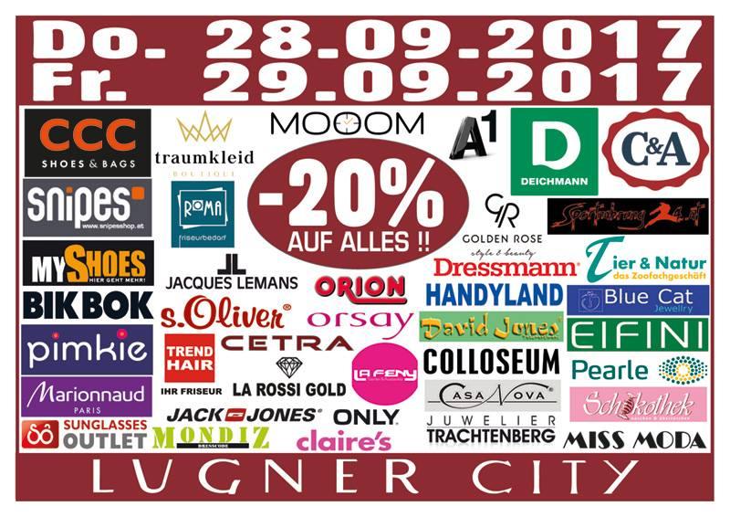 Lugner City: 20% Rabatt in 40 Shops - nur am 28. und 29. September