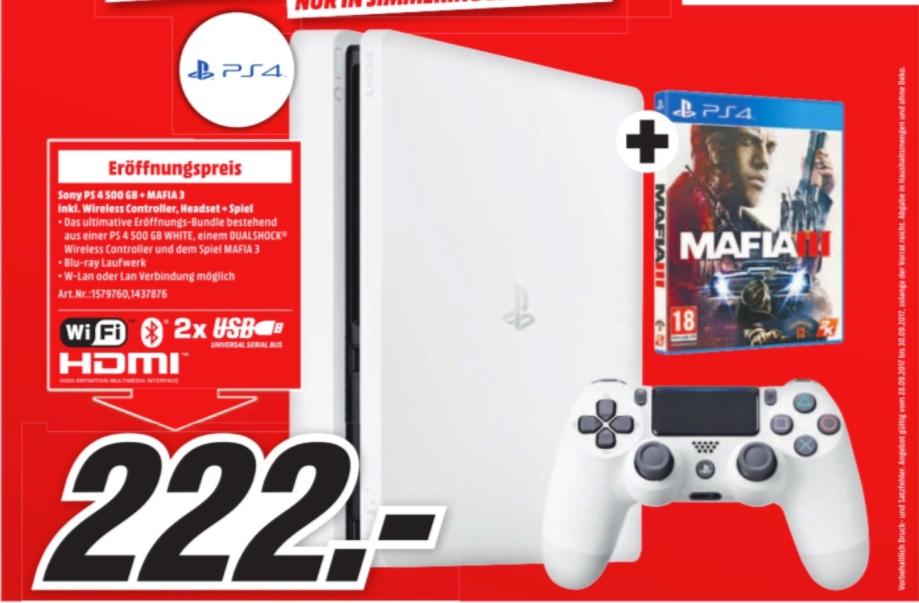 Media Markt Huma Eleven (Wien Simmering): Sony PlayStation 4 Slim - 500GB (weiß) + Mafia 3 für 222€