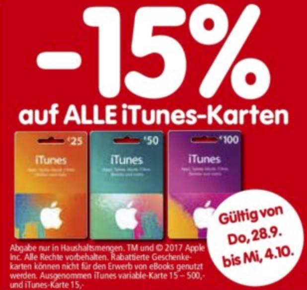 [Interspar] -15% auf 25 EUR, 50 EUR und 100 EUR iTunes Karten bis 4.10.2017