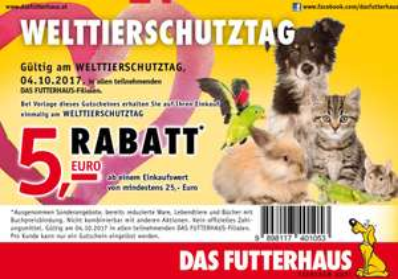 Das Futterhaus Gutschein zum Welttierschutztag am 04.10.2017
